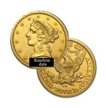 $5 Liberty Gold Coin - Half Eagle - 1839 to 1908 - Random date  - REF#HJY7692