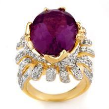 14K Yellow Gold Jewelry 13.75 ctw Amethyst & Diamond Ring - SKU#U11X42- 1893-14K
