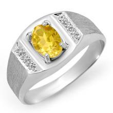10K White Gold Jewelry 2.0 ctw Citrine Men's Ring - SKU#U11F7- 90021- 10K