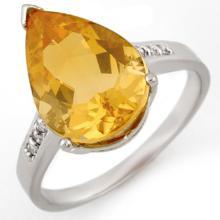 18K White Gold Jewelry 5.1 ctw Citrine & Diamond Ring - SKU#U22V4- 1606- 18K