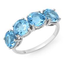 10K White Gold Jewelry 3.66 ctw Blue Topaz Ring - SKU#U9K9- 90306- 10K