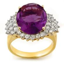 10K Yellow Gold Jewelry 8.18 ctw Amethyst & Diamond Ring - SKU#U42Z4- 1648- 10K