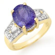 10K Yellow Gold Jewelry 5.55 ctw Tanzanite & Diamond Ring - SKU#U10A38- 1967- 10K