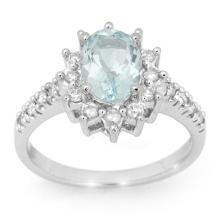 14K White Gold Jewelry 2.20 ctw Aquamarine & Diamond Ring - SKU#U46Q8- 99817-14K