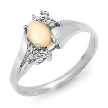 14K White Gold Jewelry 0.35 ctw Opal & Diamond Ring - SKU#U11T6- 90137-14K
