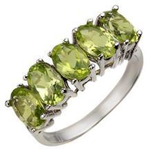 18K White Gold Jewelry 3.0 ctw Peridot Ring - SKU#U17H3- 1420- 18K