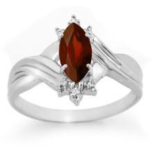 10K White Gold Jewelry 0.51 ctw Garnet & Diamond Ring - SKU#U7H0- 90050- 10K