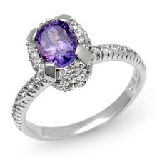 18K White Gold Jewelry 1.90ct Tanzanite & Diamond Ring - SKU#U54X2- 90806- 18K