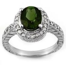 14K White Gold Jewelry 3.4 ctw Green Tourmaline & Diamond Ring - SKU#U42N8- 1637-14K