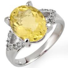 10K White Gold Jewelry 5.2 ctw Lemon Topaz & Diamond Ring - SKU#U21N5- 1406- 10K