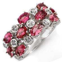 18K White Gold Jewelry 3.2 ctw Pink Tourmaline & Diamond Ring - SKU#U54U9- 1848- 18K