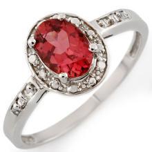 14K White Gold Jewelry 0.85 ctw Pink Tourmaline & Diamond Ring - SKU#U14A3- 1965-14K