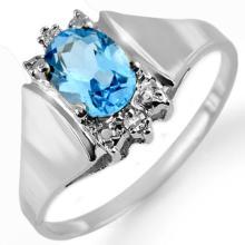 10K White Gold Jewelry 1.23 ctw Blue Topaz & Diamond Ring - SKU#U8N4- 1285- 10K