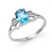18K White Gold Jewelry 0.90 ctw Blue Topaz Ring - SKU#U10T4- 90189- 18K