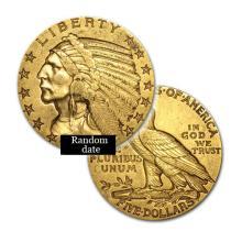 $5 Indian Gold Coin - Half Eagle - 1908 to 1929 - Random date  - REF#WCX7852