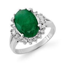10K White Gold Jewelry 3.39 ctw Emerald & Diamond Ring - SKU#U48G6- 90705- 10K