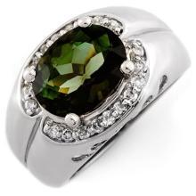 18K White Gold Jewelry 3.58ct Green Tourmaline & Diamond Ring - SKU#U70P7- 1041- 18K