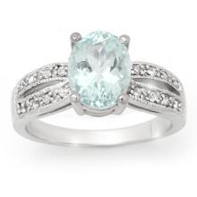 18K White Gold Jewelry 3.3 ctw Aquamarine & Diamond Ring - SKU#U57Y8- 99821- 18K