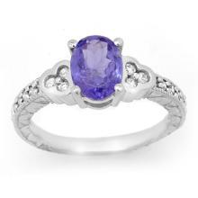 18K White Gold Jewelry 2.42ct Tanzanite & Diamond Ring - SKU#U51X1- 99552- 18K