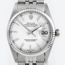 Pre-owned Excellent Condition Authentic Rolex Men's Stainless Steel DateJust White Dial Watch - REF#-210Y2X