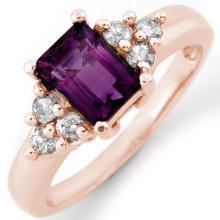 Genuine 1.36 ctw Amethyst & Diamond Ring 14K Rose Gold - 10433-#41Y3V
