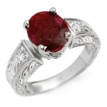 Genuine 3.85 ctw Ruby & Diamond Ring 10K White Gold - 13787-#43R2H