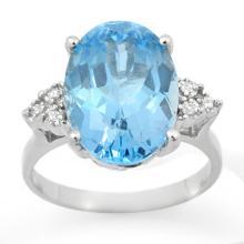 Genuine 6.20 ctw Blue Topaz & Diamond Ring 18K White Gold - 12857-#47H5W