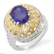 Genuine 4.30 ctw Tanzanite & Diamond Ring 14K 2-Tone Gold - 14525-#168Y7V
