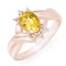 Genuine 1.04 ctw Citrine & Diamond Ring 14K Rose Gold - 12469-#19P3X