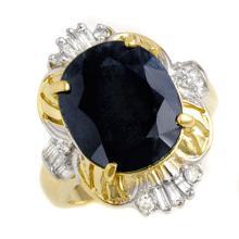 Natural 8.07 ctw Blue Sapphire & Diamond Ring 10K Yellow Gold - 12682-#54A2N