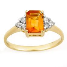 Natural 1.12 ctw Citrine & Diamond Ring 10K Yellow Gold - 11266-#15Z8P