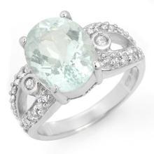 Natural 4.75 ctw Aquamarine & Diamond Ring 10K White Gold - 14452-#67Y2V