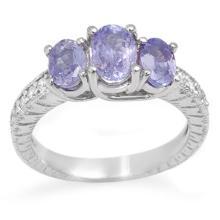 Natural 2.50 ctw Tanzanite & Diamond Ring 14K White Gold - 10776-#49R2H