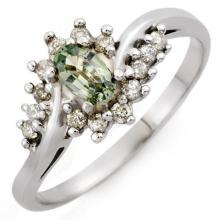 Natural 0.55 ctw Green Sapphire & Diamond Ring 10K White Gold - 10214-#20P8X
