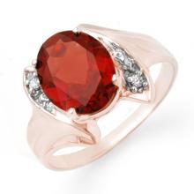 Genuine 1.64 ctw Garnet & Diamond Ring 10K Rose Gold - 12315-#15M2G