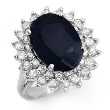 Genuine 8.70 ctw Blue Sapphire & Diamond Ring 14K White Gold - 12885-#116N8F