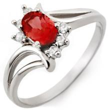 Natural 0.70 ctw Pink Tourmaline & Diamond Ring 18K White Gold - 10488-#30N3F