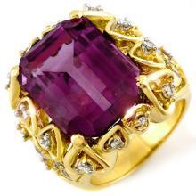 Natural 14.40 ctw Amethyst & Diamond Ring 10K Yellow Gold - 10192-#76G7R