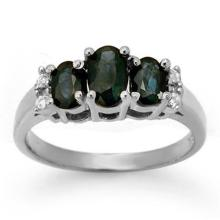 Genuine 1.33 ctw Blue Sapphire & Diamond Ring 18K White Gold - 14005-#35V8A