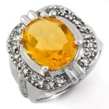 Genuine 4.68 ctw Citrine & Diamond Ring 14K White Gold - 10017-#63W7K