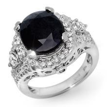 Natural 8.65 ctw Blue Sapphire & Diamond Ring 14K White Gold - 11918-#127Y5V
