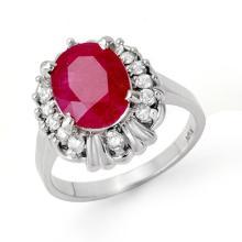 Genuine 3.33 ctw Ruby & Diamond Ring 18K White Gold - 13287-#56P7X