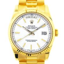 Pre-owned Excellent Condition Authentic Rolex Quickset Men's 18K Yellow Gold Day-Date White Dial Watch - REF#-960X2R