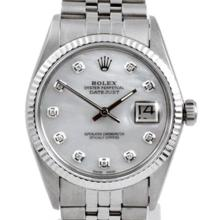 Pre-owned Excellent Condition Authentic Rolex Quickset Men's Stainless Steel DateJust Mother of Pearl Dial Watch - REF#-280Y8X