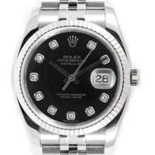 Pre-owned Excellent Condition Authentic Rolex Men's Stainless Steel DateJust Black Dial Watch - REF#-230H8M