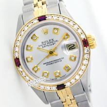Rolex Men's 2Tone 14K Gold/ SS, QuickSet, Diam Dial & Diam/Ruby Bezel - REF#458N2J
