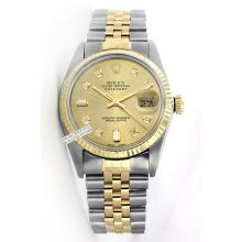 Rolex Men's 2Tone 14K Gold/ SS, QuickSet, Diamond Dial Fluted Bezel - REF#354V5H