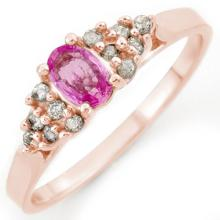 Genuine 0.50 ctw Pink Sapphire & Diamond Ring 14K Rose Gold - 10289-#22T8Z