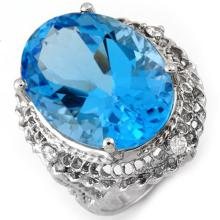Natural 18.15 ctw Blue Topaz & Diamond Ring 10K White Gold - 10784-#49P8X