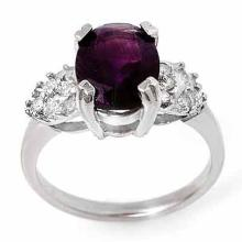 Natural 2.65 ctw Amethyst & Diamond Ring 10K White Gold - 13594-#27V5A